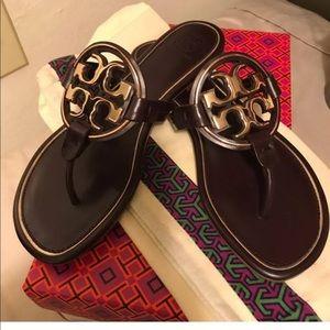Tory Burch Malbec & Rose Gold Miller Sandal. Size7
